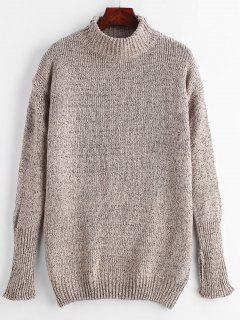 Heather High Neck Longline Sweater - Camel Brown
