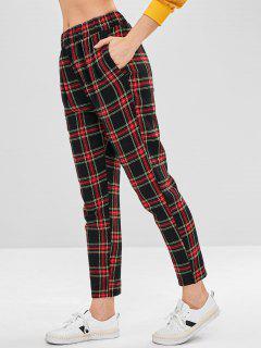 Pantalon Droit à Carreaux à Taille Haute - Multi L