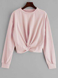 ZAFUL Twist Front Plain Sweatshirt - Light Pink L