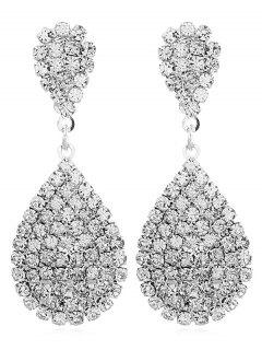 Faux Crystal Water Drop Shape Earrings - White