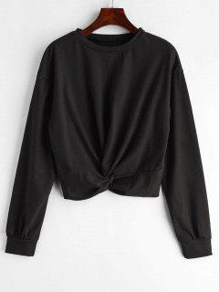 ZAFUL Twist Front Plain Sweatshirt - Black L