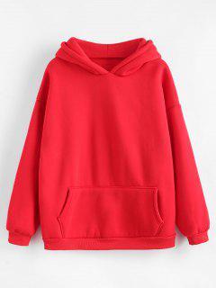 Kangaroo Pocket Fleece Lining Hoodie - Red 2xl