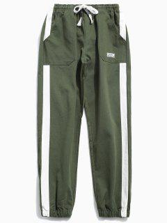 Side Striped Applique Jogger Pants - Army Green 2xl