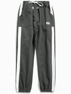Pantalones Basculador De Rayas Laterales - Gris Ceniza 2xl