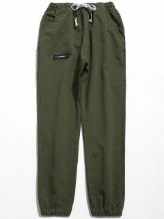 Solid Elastic Waist Jogger Pants - Army Green L