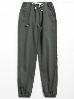 Pantalones Basculador De Cintura Elástica Sólida - Gris Ceniza 2xl