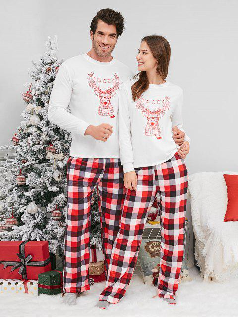 unique Reindeer Print Plaid Christmas Couple Pajamas - WHITE MAN 2XL Mobile