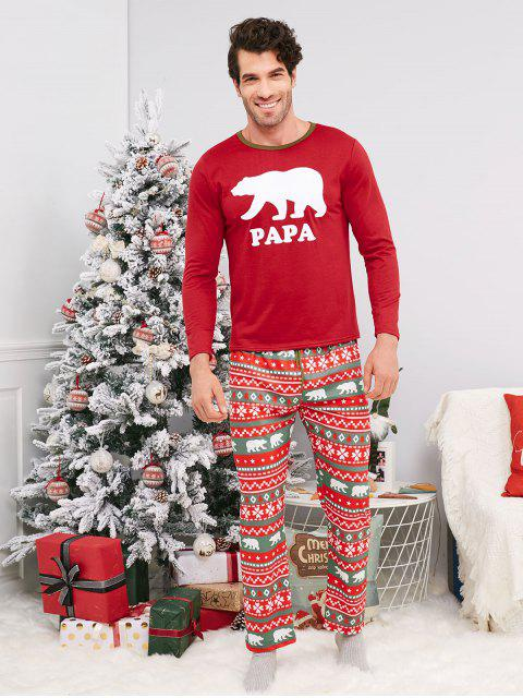 trendy Bear Geometric Family Chirstmas Pajama Set - RED KID 90 Mobile