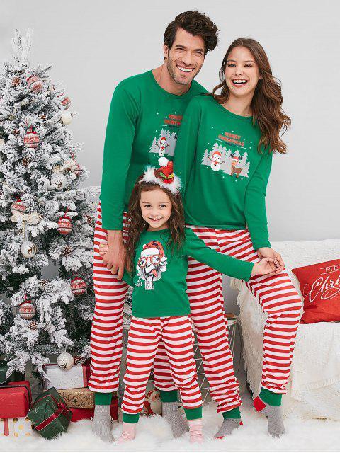 shop Snowman Deer Print Christmas Family Pajamas - GREEN DAD L Mobile