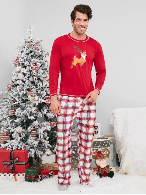 affordable Plaid Reindeer Print Christmas Couple Pajamas - RED MAN M Mobile
