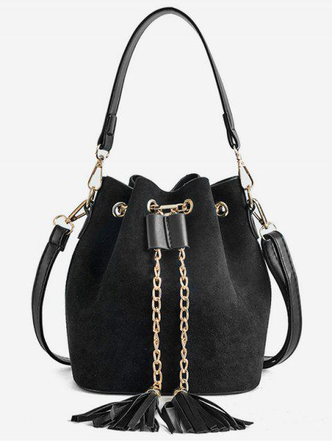 online Mini Tassel Design Bucket Crossbody Bag - BLACK  Mobile