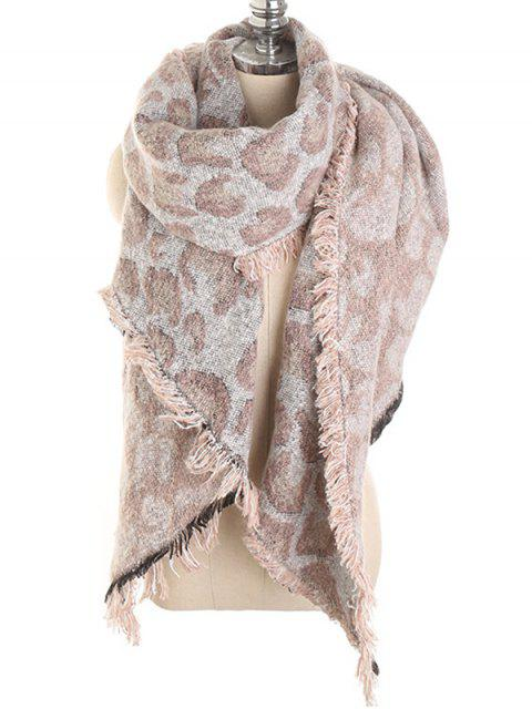 ladies Stylish Leopard Print Fringed Shawl Scarf - SAKURA PINK  Mobile