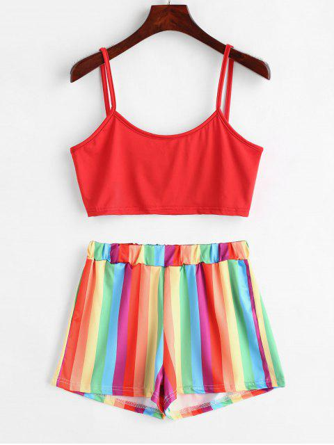 outfits Rainbow Stripe Two Piece Set - MULTI-A L Mobile