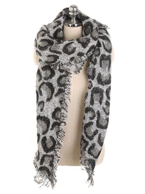 womens Stylish Leopard Print Fringed Shawl Scarf - BLACK  Mobile