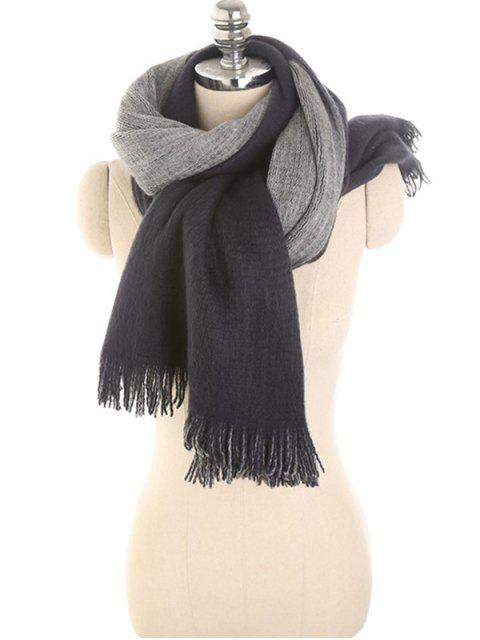 best Stylish Fringed Long Scarf - DARK SLATE BLUE  Mobile