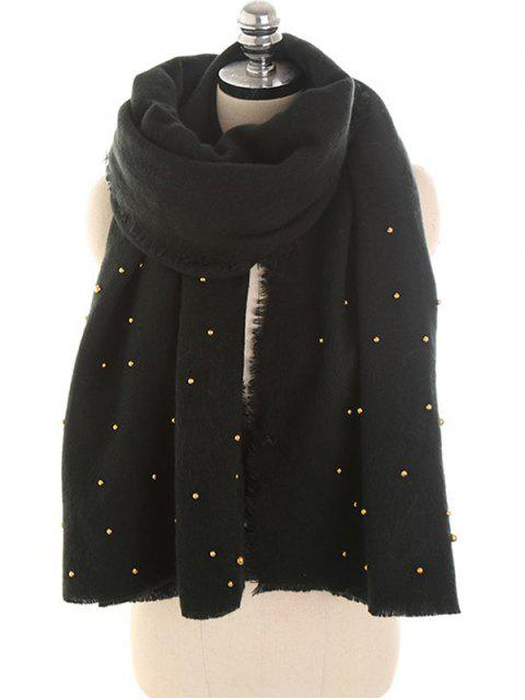 buy Faux Pearl Embellished Long Scarf - BLACK  Mobile