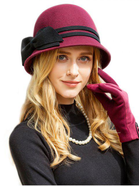 lady Vintage Bowknot Side Cloche Hat - RED WINE  Mobile