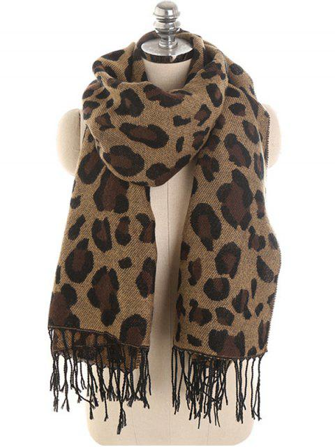 outfit Leopard Pattern Embellished Shawl Scarf - BROWN  Mobile