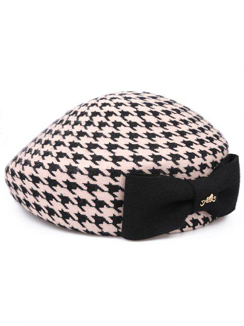 fancy Elegant Houndstooth Bowknot Beret - CRYSTAL CREAM  Mobile