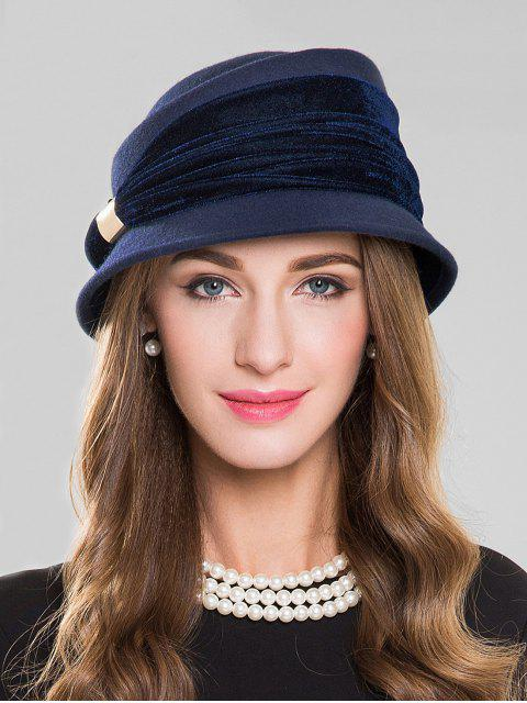 sale Solid Color Woolen Hat - NAVY BLUE  Mobile
