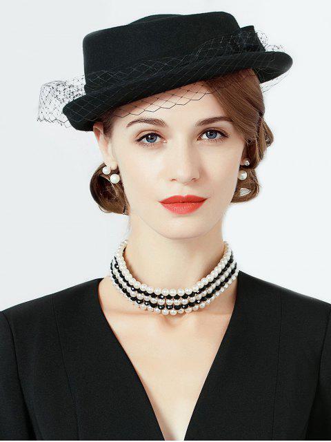lady Elegant Mesh Solid Color Wool Beret - BLACK  Mobile
