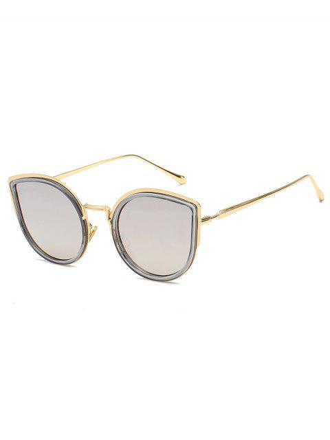 lady Retro Metal Frame Catty Sunglasses - SILVER  Mobile