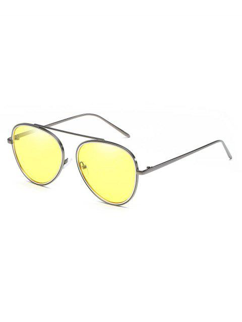 unique Crossbar Metal Frame Pilot Sunglasses - YELLOW  Mobile
