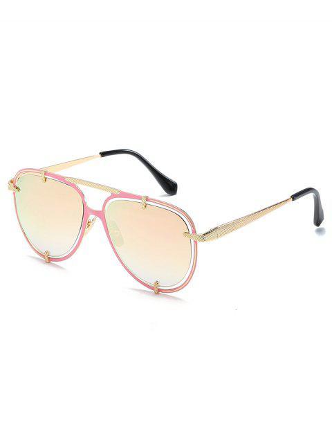 buy Metal Frame Crossbar Driving Sunglasses - PIG PINK  Mobile