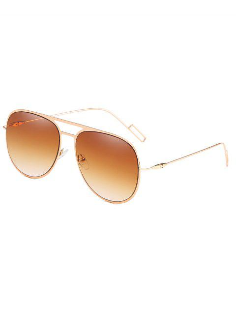 womens Metal Frame Crossbar Novelty Sunglasses - LIGHT BROWN  Mobile
