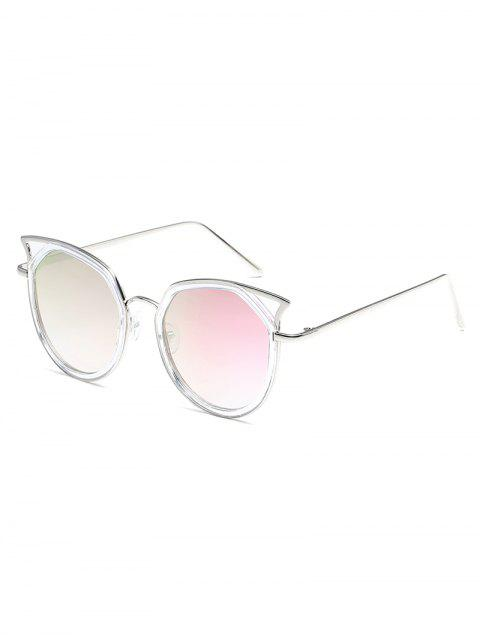 ladies Anti Fatigue Hollow Out Metal Frame Sunglasses - MAUVE  Mobile