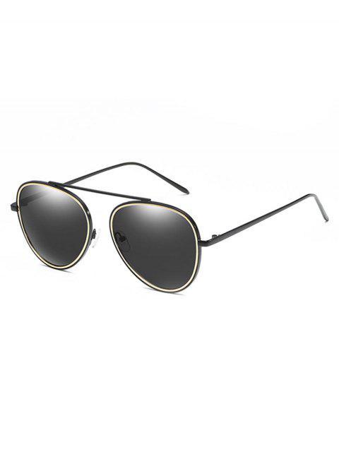women Crossbar Metal Frame Pilot Sunglasses - BLACK  Mobile