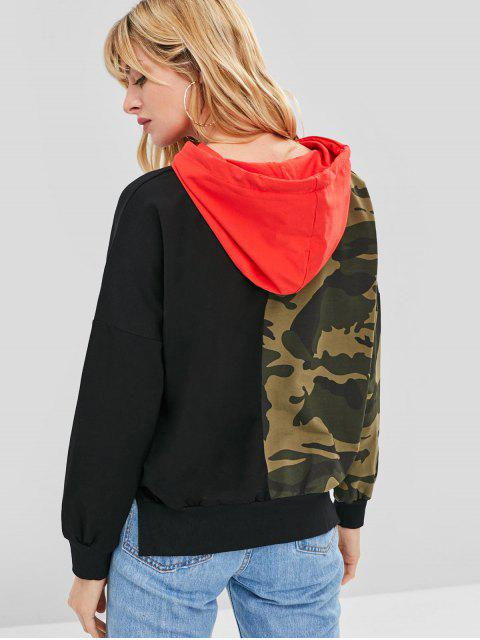 latest Drop Shoulder Camo Print Contrast Hoodie - MULTI ONE SIZE Mobile