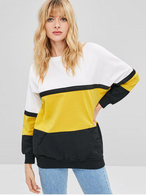 online Color Block Pullover Oversized Sweatshirt - MULTI ONE SIZE Mobile