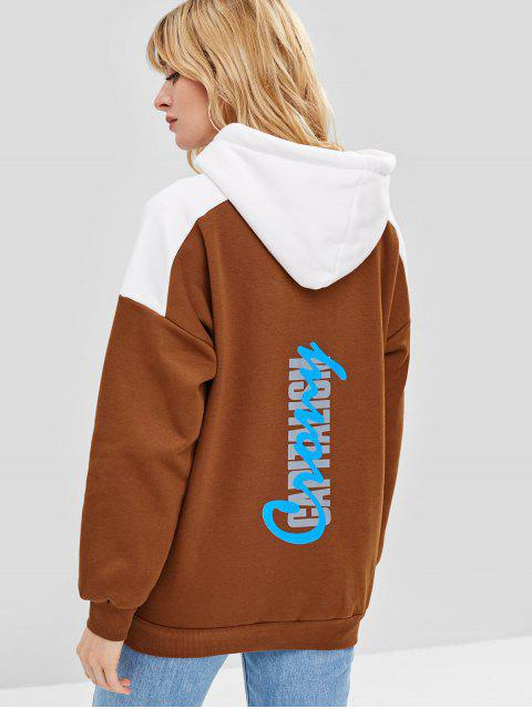 shop Graphic Fleece Pullover Hoodie - BROWN ONE SIZE Mobile