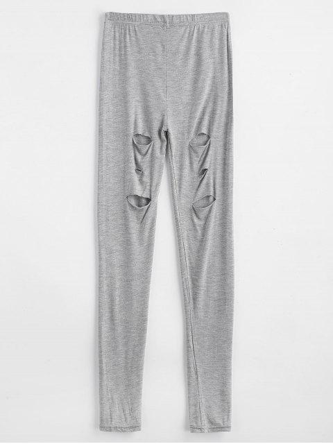 fancy Ripped Skinny Ninth Leggings - GRAY ONE SIZE Mobile