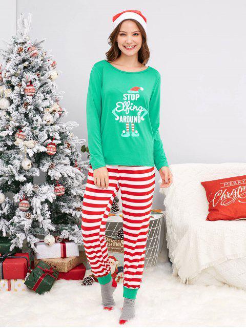 fashion Striped Family Chirstmas Pajama Set - GREEN DAD L Mobile