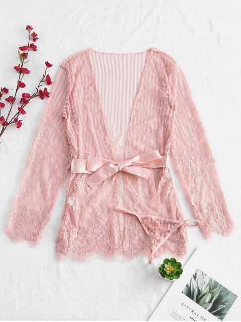 outfits Floral Lace Sheer Belted Lingerie Robe - LIGHT PINK ONE SIZE Mobile