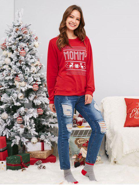 unique Elk Snowflake Family Christmas Sweatshirt - LAVA RED KID 2XL Mobile