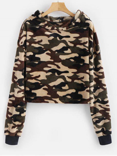 lady Camouflage Loose Faux Fur Hoodie - ACU CAMOUFLAGE M Mobile