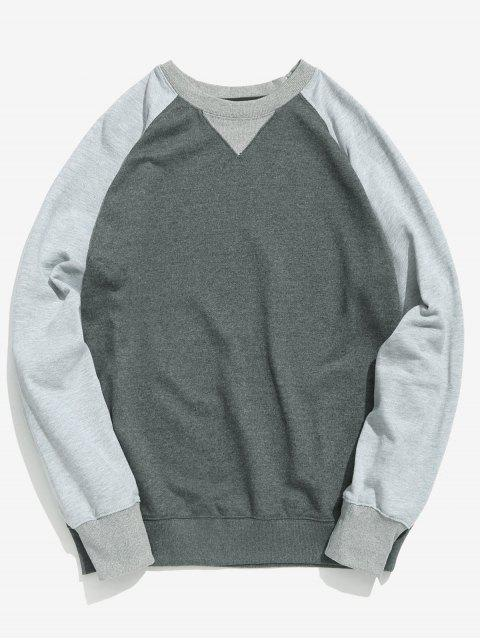 best Color Block Basic Sweatshirt - GRAY XL Mobile