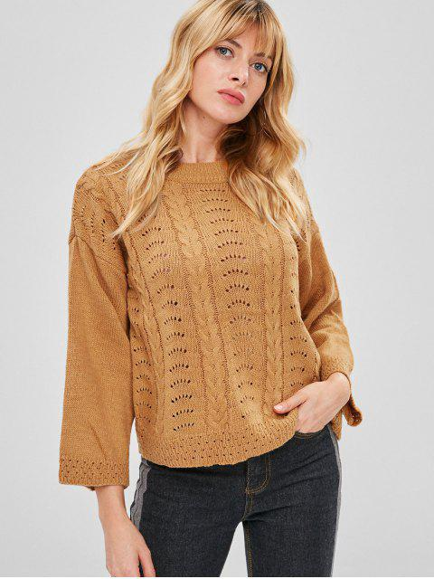 outfit Cable Knitted Sweater with Drop Shoulder - LIGHT BROWN ONE SIZE Mobile