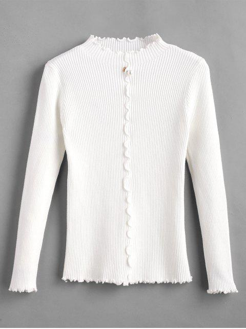 latest Faux Pearl Embellished Lettuce Trim Sweater - WHITE ONE SIZE Mobile