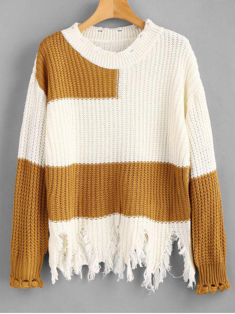 fashion Drop Shoulder Color Block Distressed Sweater - WHITE ONE SIZE Mobile