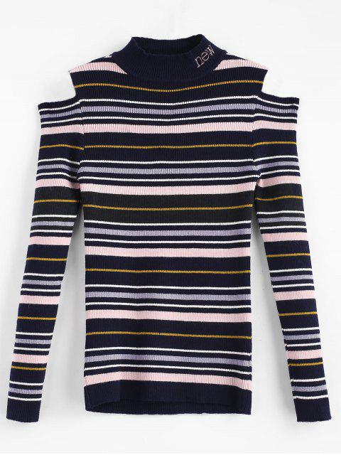 affordable Colorful Striped Cold Shoulder Sweater - MULTI-A ONE SIZE Mobile