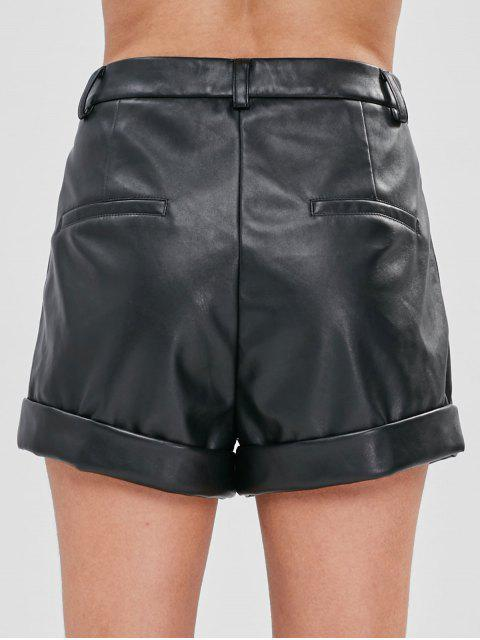 ZAFUL Short à Coupe Haute en Faux Cuir - Noir L Mobile