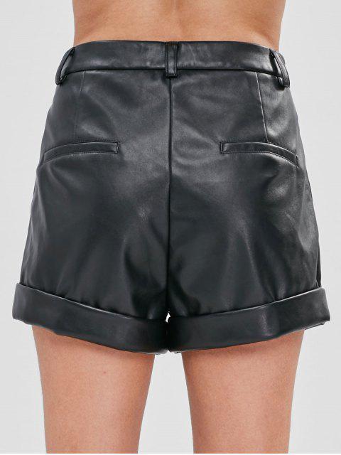 ZAFUL Short à Coupe Haute en Faux Cuir - Noir M Mobile