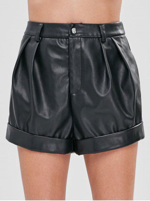 women's ZAFUL Faux Leather High Rise Shorts - BLACK XL Mobile