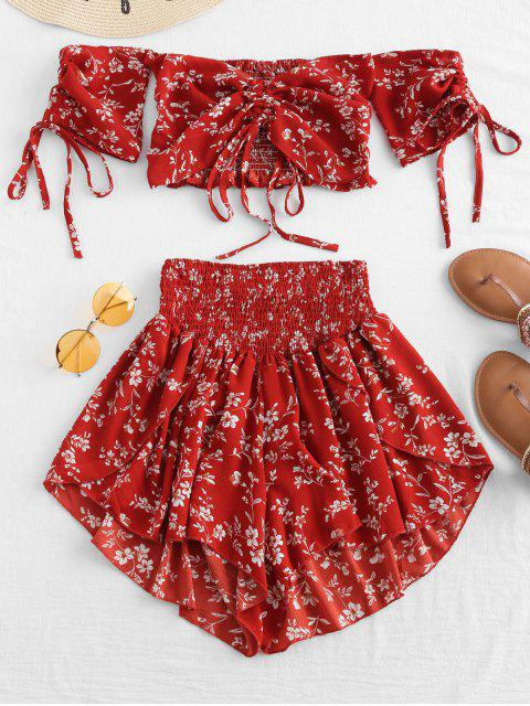 womens Off Shoulder Cinched Floral Set - CHESTNUT RED M Mobile