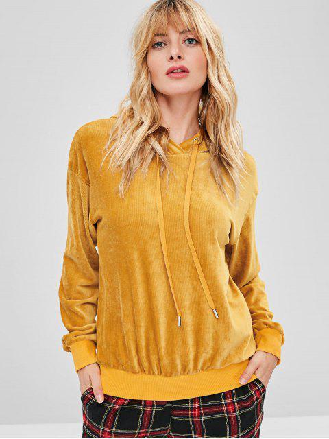 latest ZAFUL Velvet Tunic Drop Shoulder Hoodie - BEE YELLOW S Mobile