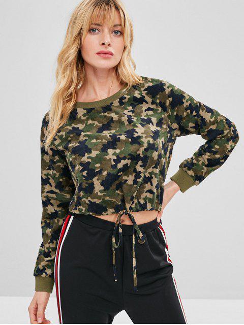 ladies ZAFUL Corduroy Camo Raglan Sleeve Sweatshirt - ACU CAMOUFLAGE XL Mobile